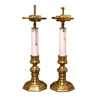 Vintage Brass Candlestick Double Socket Table Lamps - a Pair For Sale