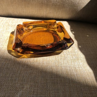 Square Amber Glass 1970's Ashtray Preview