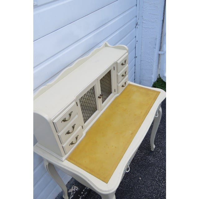 French Country French Painted Leather Top Vanity Writing Desk With Flip Up Mirror 1272 For Sale - Image 3 of 13