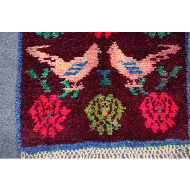 Vintage Turkish Bird Motif Tulu Rug - 2′8″ × 11′6″ - Image 5 of 11