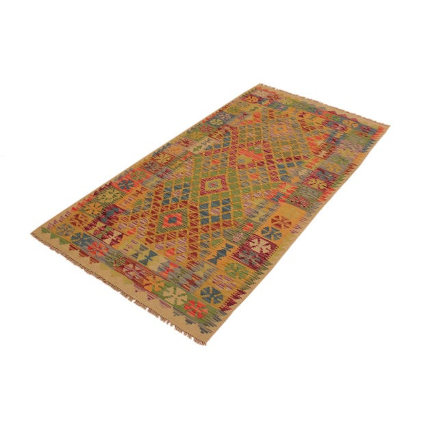 Contemporary Contemporary Tribal Lesli Beige/Gold Hand-Woven Kilim Wool Rug -3'6 X 6'9 For Sale - Image 3 of 8