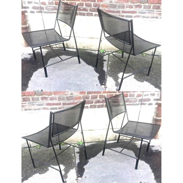 """Black Mathieu Mategot Unique Set of Four Black Metal Chair Models """"Panamera"""" For Sale - Image 8 of 8"""