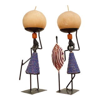 Artisan Figural Candle Holders From Kenya, Set of 2 For Sale