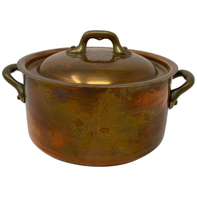 Small Copper Pot With Brass Handles and Lid For Sale - Image 13 of 13