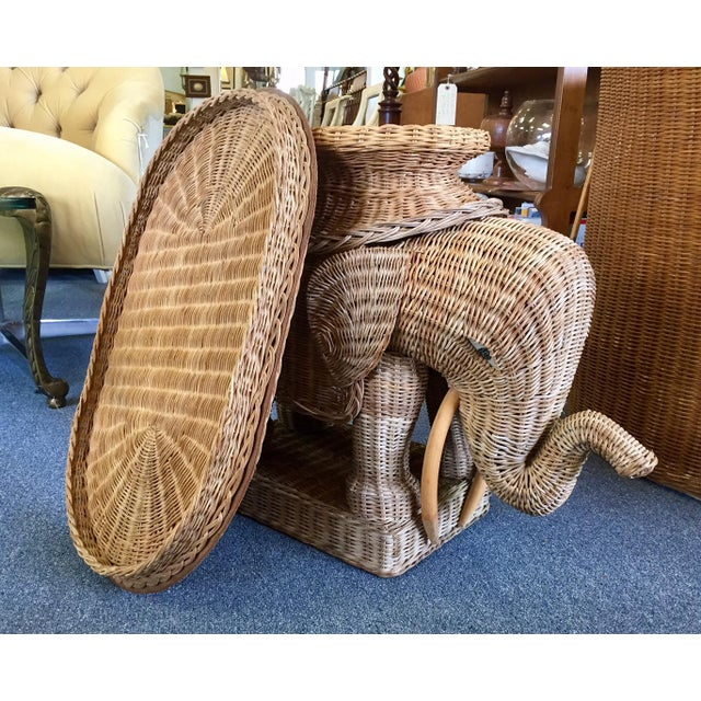 1960s Vintage Woven Rattan Elephant Tray Table For Sale - Image 5 of 8