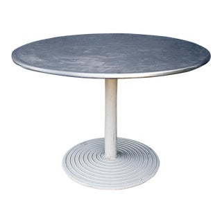 Round Stainless Cafe Table on Cast Aluminum Base, Circa 1960s For Sale
