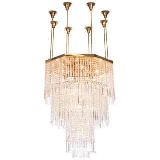 Impressive Brass and Glass Chandelier, Italy, 1950s For Sale