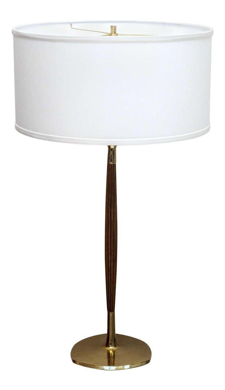 Laurel Mid Century Walnut Brass Table Lamp Chairish
