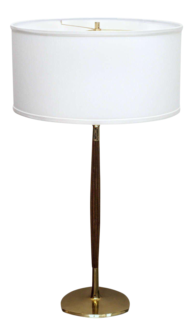 Laurel Mid Century Walnut U0026 Brass Table Lamp