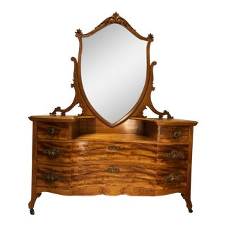 Antique Victorian Heavily Carved Curly Birds Eye Maple Princess Mirror Dresser
