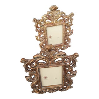 Heavy Baroque Carved Wood 8x10 Gilded Easel Back Picture Frames - a Pair
