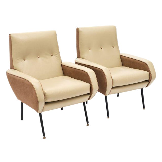 French Modernist Two-Toned Leather Armchairs - a Pair For Sale