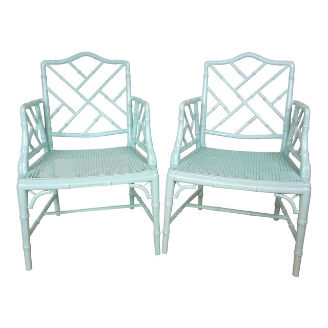 Pale Turquoise Faux Bamboo Chinese Chippendale Chairs- A Pair For Sale