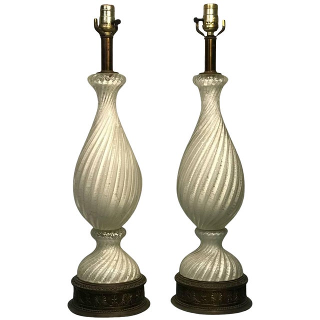 Midcentury Pair of White and Silver Swirled Murano Lamps For Sale