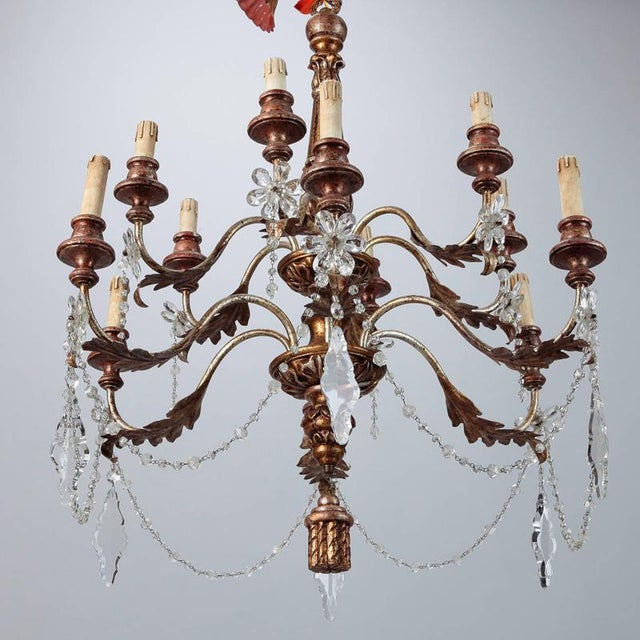 Crystal 19th Century French Twelve Light Gild Wood and Crystal Chandelier For Sale - Image 7 of 8
