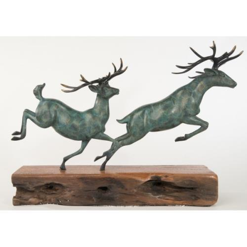 Metal Two Running Stag Reindeer Bronze Statue For Sale - Image 7 of 9