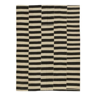 Contemporary Persian Wool Flat Weave Striped Rug - 7′9″ × 10′10″ For Sale