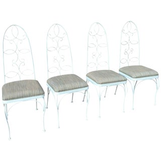 Mid Century High Back Wrought Iron Patio Garden Dining Chair Set- 4 Pieces For Sale