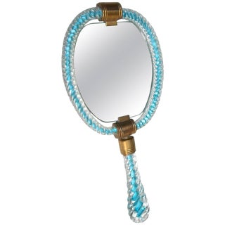 Murano Glass Aqua Blue Clear Hand Vanity Mirror For Sale