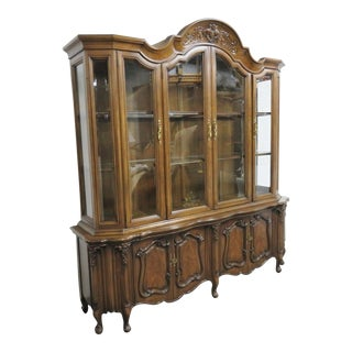 French Carved Walnut Breakfront China Cabinet For Sale