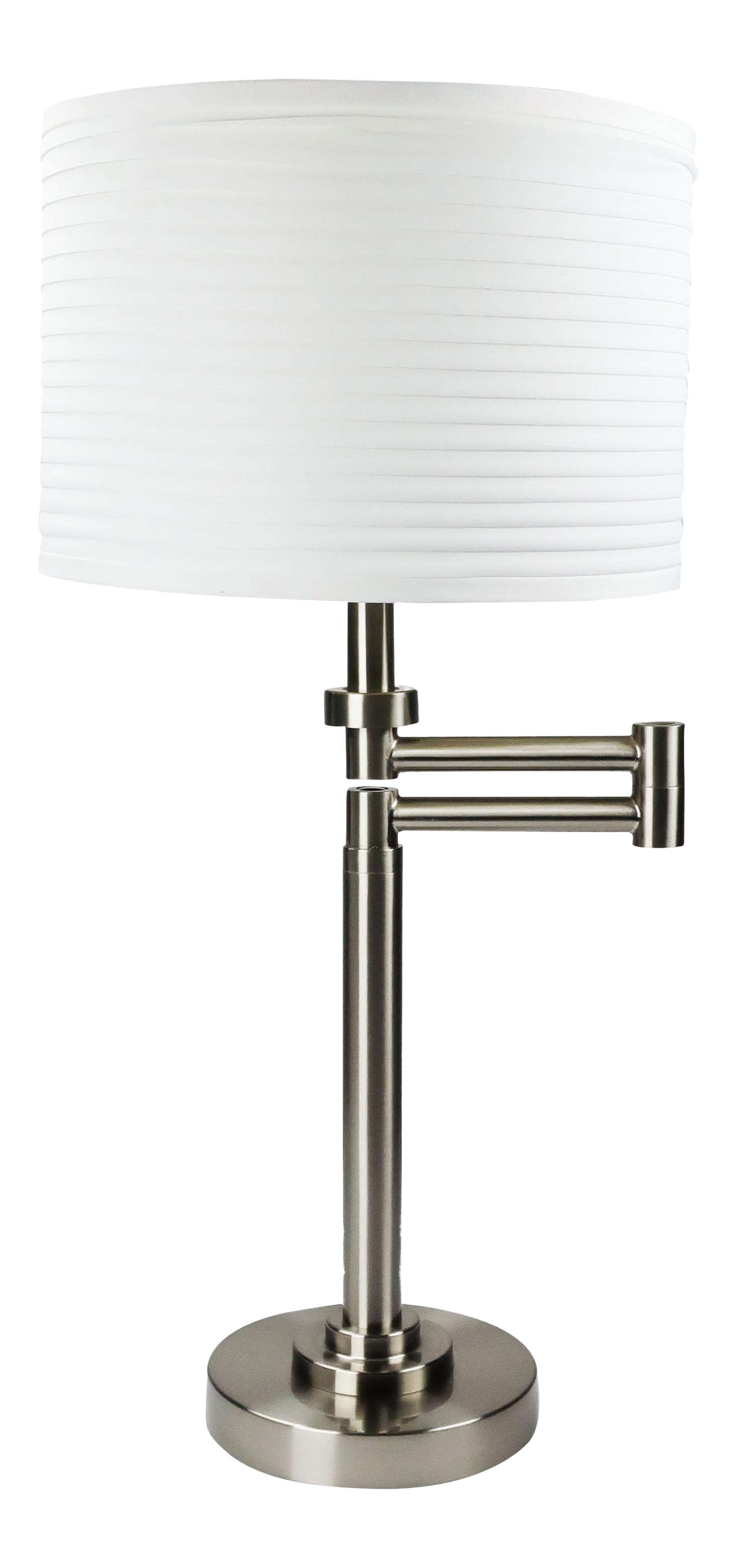 Brushed Nickel Swing Arm Table Lamp With White Drum Shade Chairish