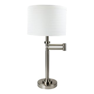 Brushed Nickel Swing Arm Table Lamp With White Drum Shade For Sale