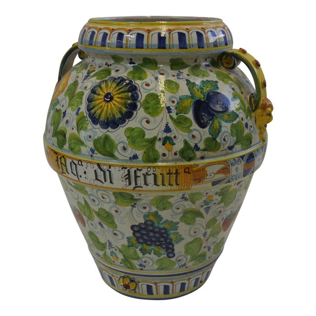 Italian Majolica Fruit Painted Urn - Image 1 of 7
