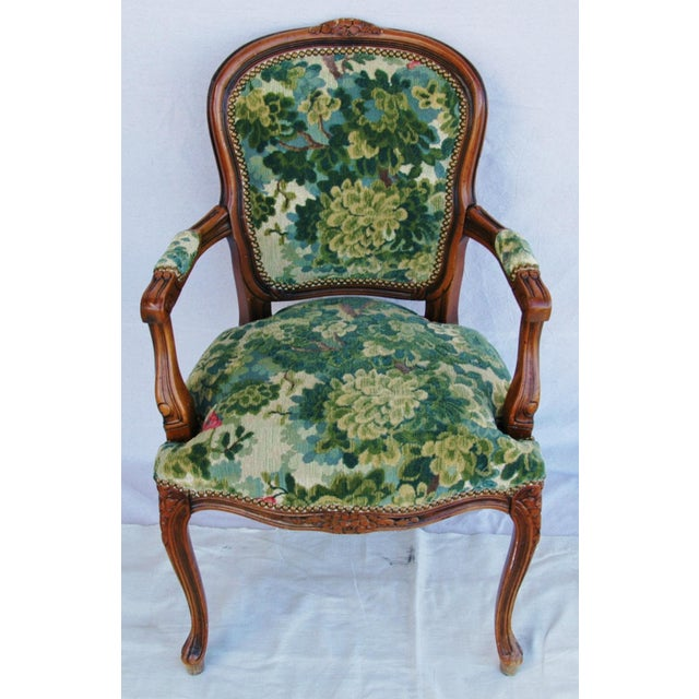 Fabric Scalamandre Marly Velvet Tapestry Fabric Walnut Armchair For Sale - Image 7 of 11
