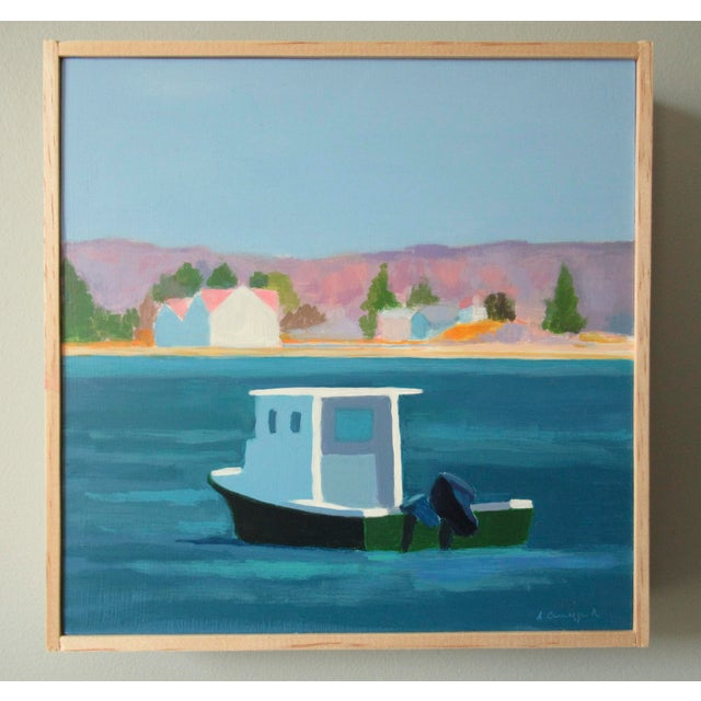 A simplified, nautical, semi-abstract view of the harbor near me. I live in a coastal town and enjoy painting it. This...