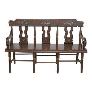 Early American Paint Decorated Childs Settee For Sale