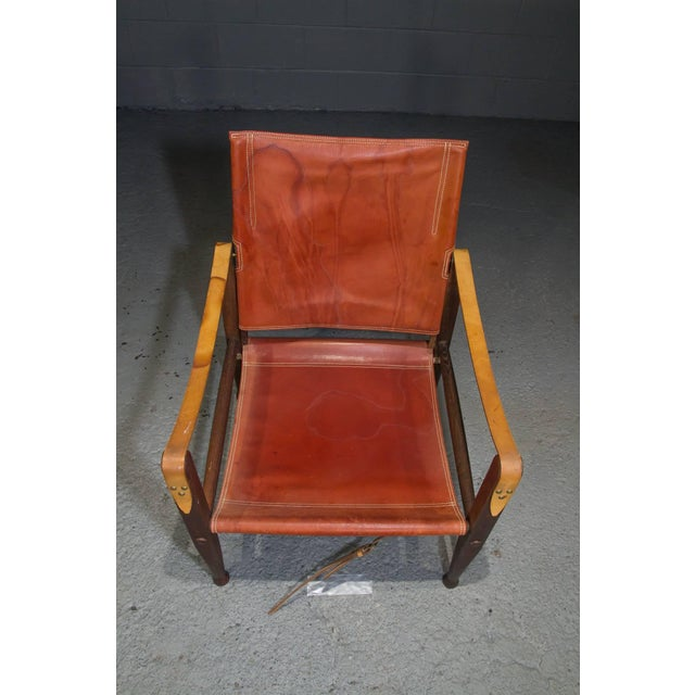 Animal Skin Red Leather Safari Chair by Kaare Klint for Rud Rasmussen For Sale - Image 7 of 8