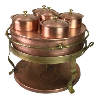 1940s Copper and Brass Chafing Dish For Sale