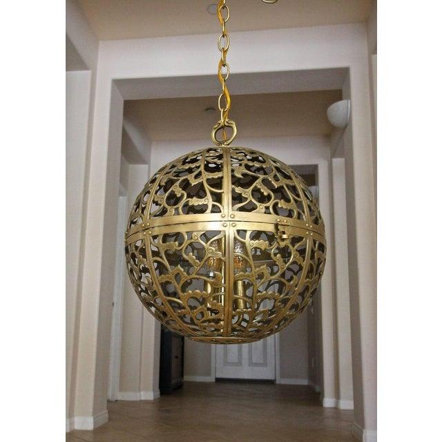 1950s Large Japanese Asian Pierced Filigree Brass Ceiling Pendant Light For Sale - Image 5 of 11