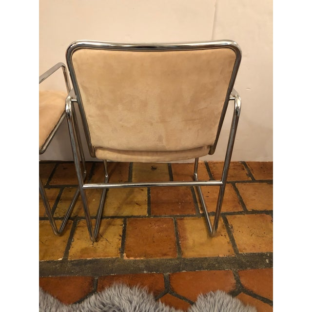 Beige Milo Baughman Style Mid Century Modern Ultra Suede and Chrome Club Chairs- a Pair For Sale - Image 8 of 10