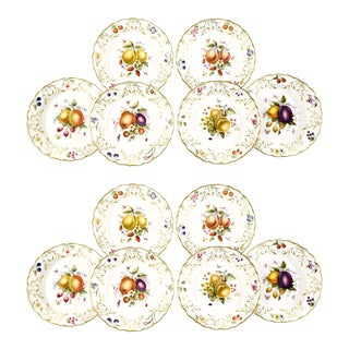 12 Royal Worcester Hand-Painted Dessert Plates with Fruit Artist Signed Hummel For Sale