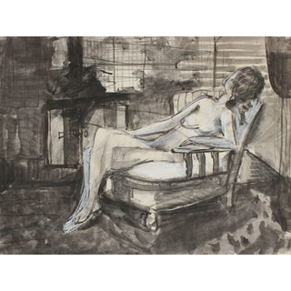 Jack Freeman Monochromatic Figurative Nude in Charcoal and Ink, 1971 For Sale