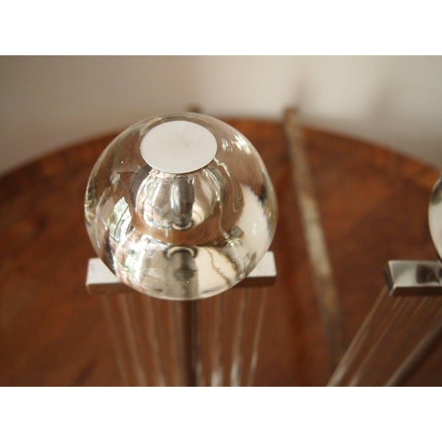 Silver Art Deco Chrome and Glass Column Andirons For Sale - Image 8 of 11