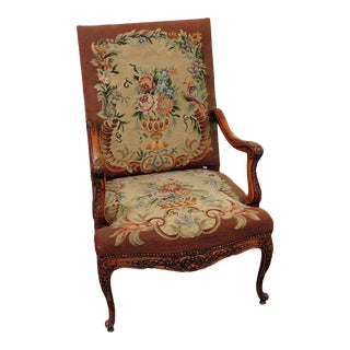 Early 20th Century Louis XV Style Needlepoint Chair For Sale