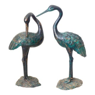 Crane Birds Statues - Set of 2 For Sale
