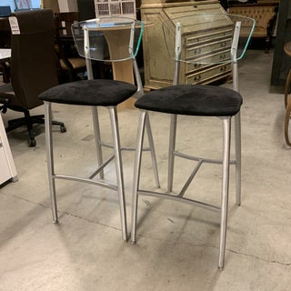 Modern Lucite + Aluminum + Upholstered Bar Stools - A Pair Preview