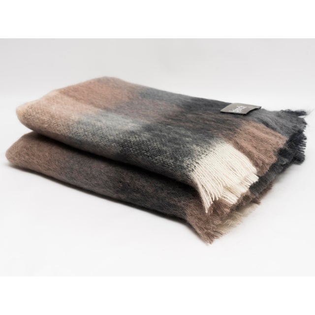 Contemporary Charcoal White & Mink Check Mohair Throw For Sale - Image 3 of 10