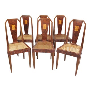 Ruhlmann Style Inlaid Burl Walnut Dining Chairs - Set of 6 For Sale