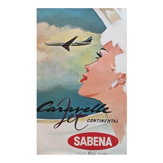 Vintage 1960s Air Travel Poster, Mad Men Sabena