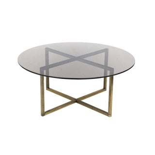 Round Brass Coffee Table With X Base and Smoked Glass Top For Sale