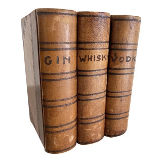 1960s Gin, Whisky, Vodka Leather Book Decanters - Set of 3 For Sale
