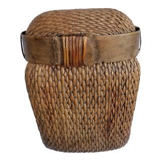 Antique Lotus Wicker Basket