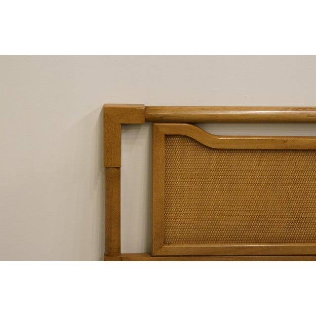 Mid-Century Modern King Size Panel Headboard With Cane-Like Detail For Sale - Image 4 of 7