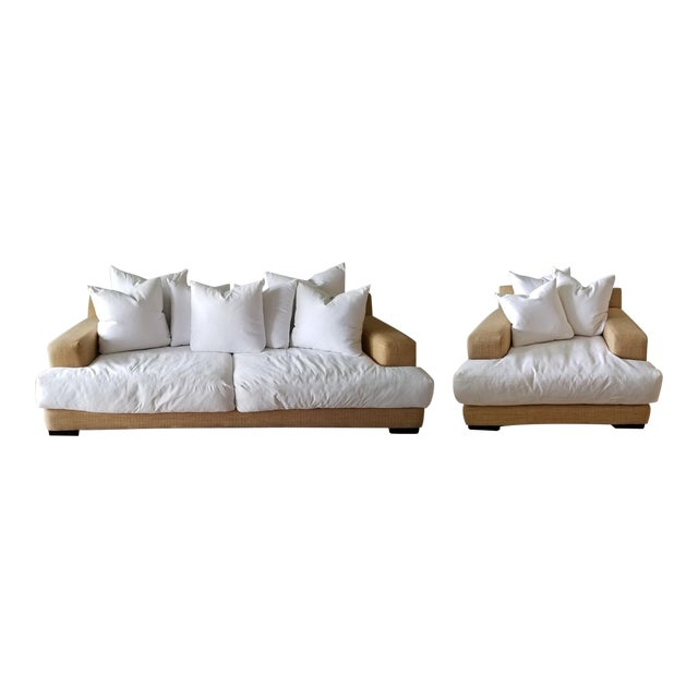 Resort Style Modern Oversized White & Sand Sofa and Chair - Set of 2 For Sale