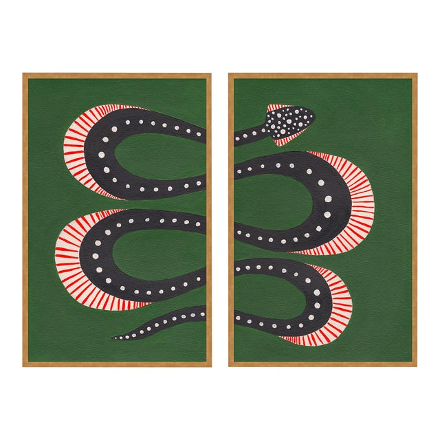Zucchini the Snake by Willa Heart in Gold Framed Paper, Medium Art Print For Sale