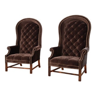 Mid-Century Brown Velvet Porter's Chairs - a Pair For Sale